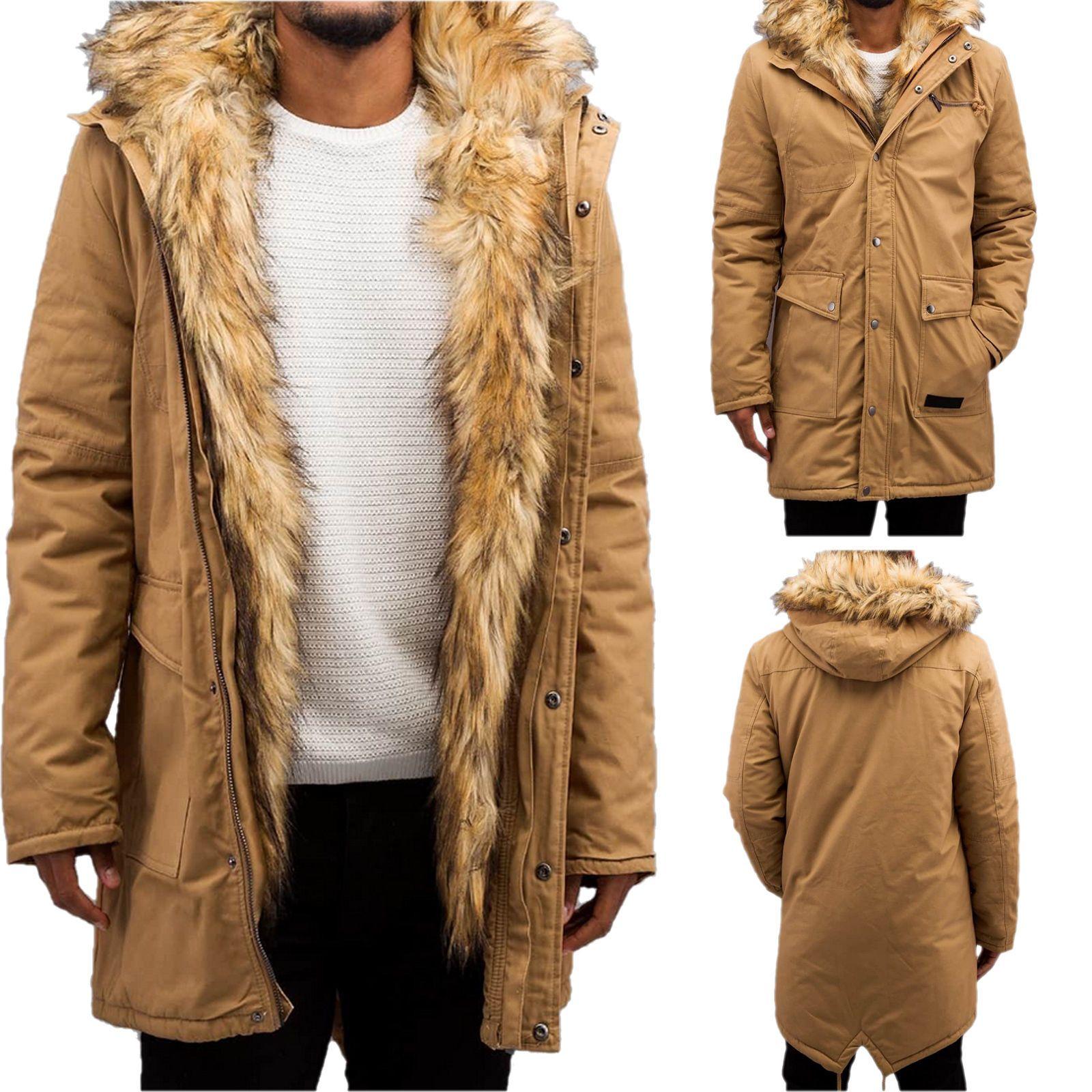 Bangastic Herren Parka Mantel Jacke mit Kunst Pelz 012br in Kleidung    Accessoires, Herrenmode, Jacken   Mäntel   eBay 2ce279a6a2