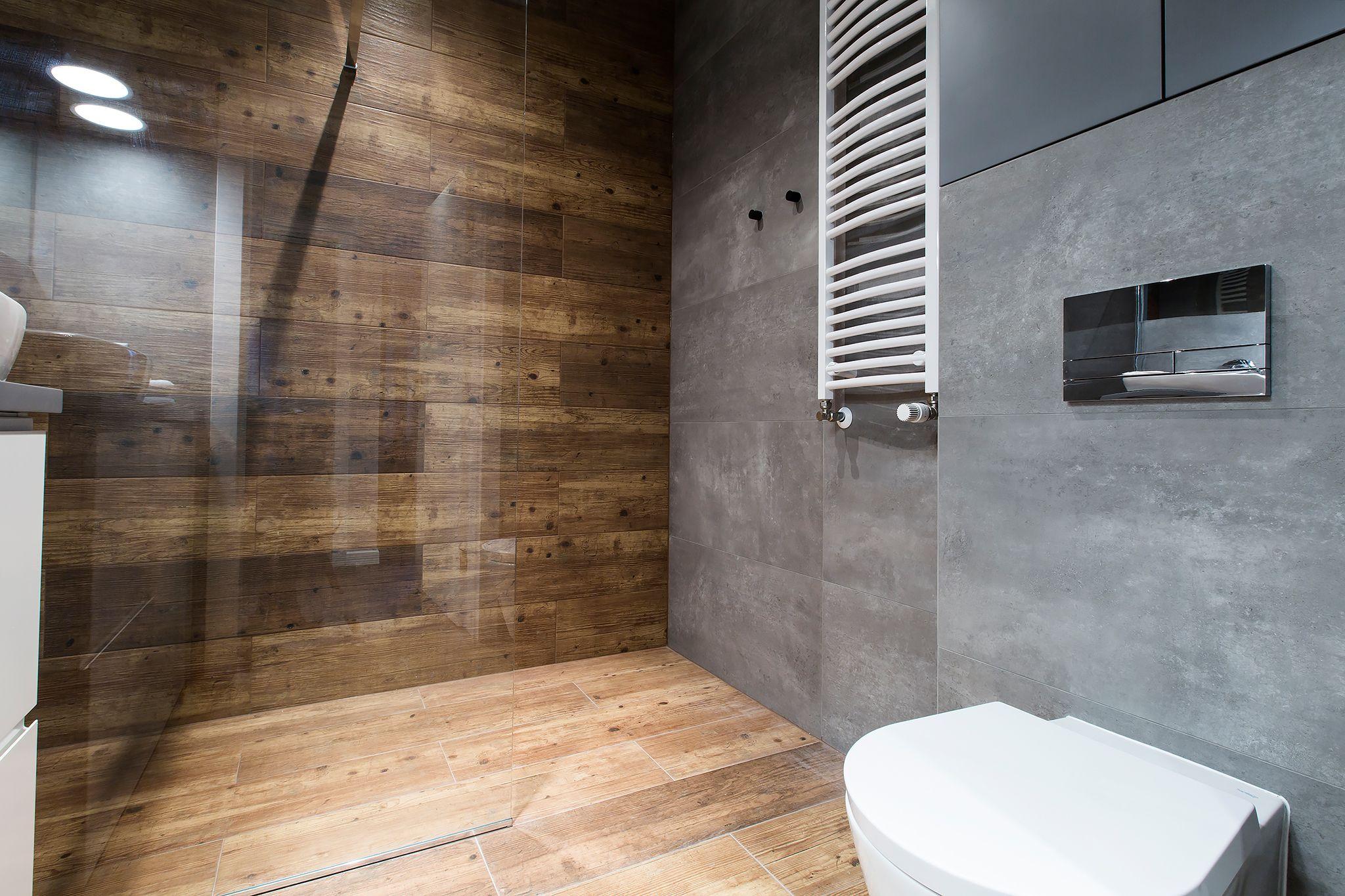 Motyw Drewna I Betonu W łazience Interior W 2019