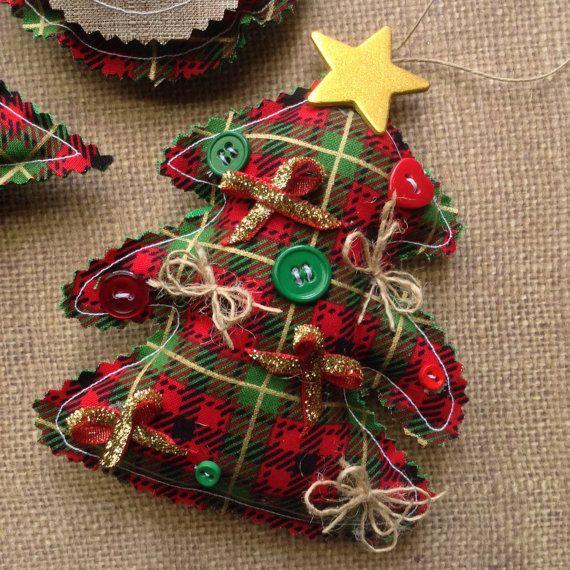 Christmas Classic Ornaments / Vintage Plaid Xmas Ornaments / Plaid