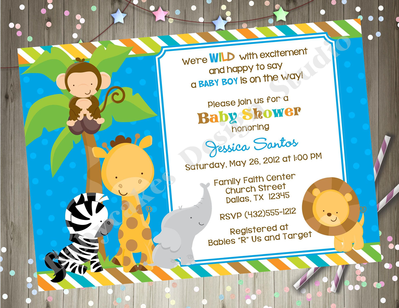 Safari Animals Baby Shower Invitation Jungle Safari Baby