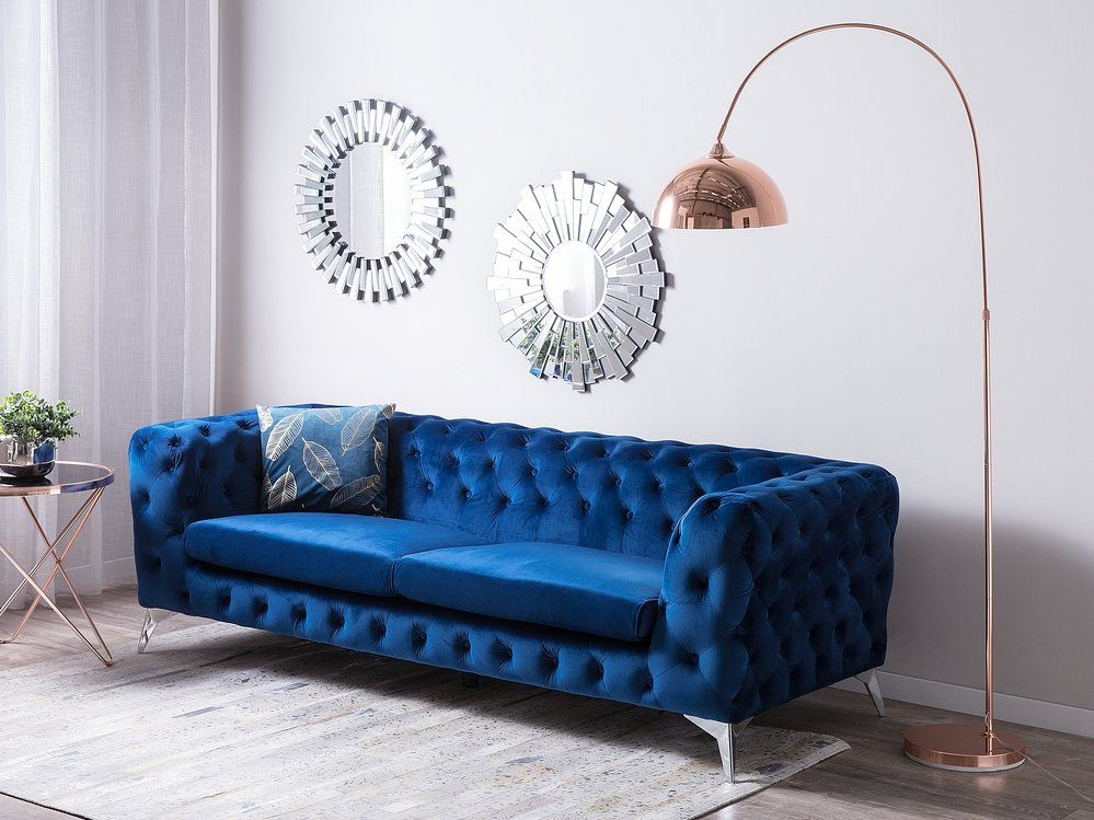 3 Seater Velvet Fabric Sofa Cobalt Blue Sotra Fabric Sofa Blue Velvet Fabric Living Room Sofa