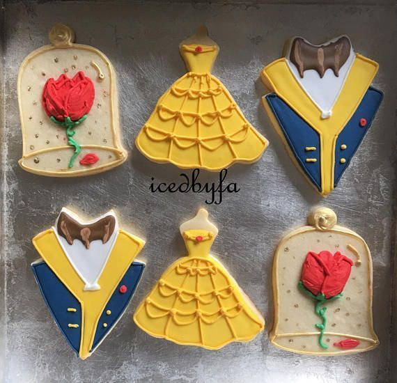 Beauty and the Beast Sugar Cookies Perfect For Birthdays And Ather Celebrations  1 Dozen  Can Make Any Disney princessather