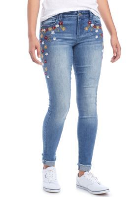 True Craft Girls' Floral Embroidered Skinny Pants - Medium Wash - 13