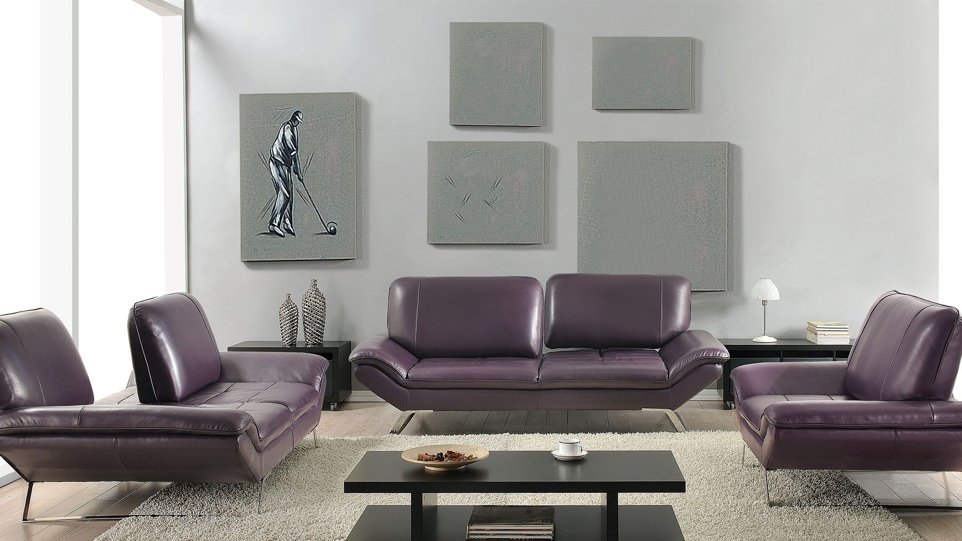 Roxi Sofa Set Eggplant   Starting At $1140