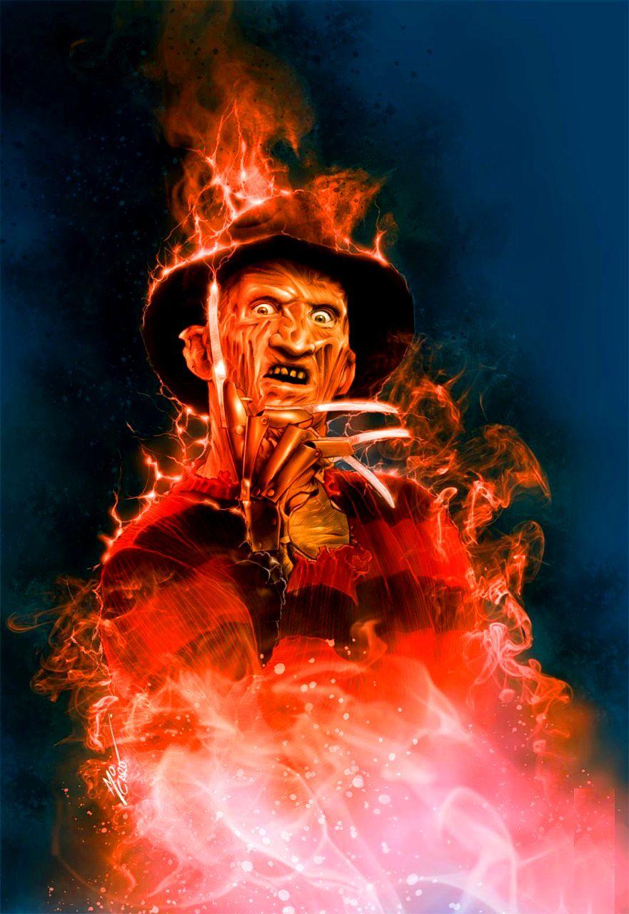 Freddy Krueger Fire Buscar Con Google Freddy Krueger Art Horror Movie Posters Horror Posters