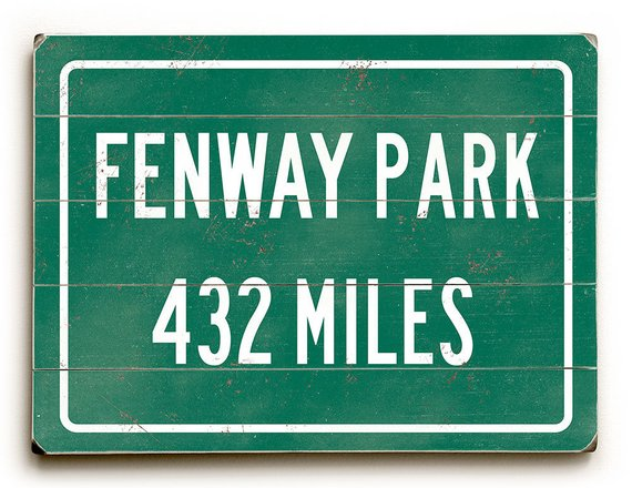 08e507a5 Wood sign Fenway Park, highway distance sign, Boston Red Sox, miles ...