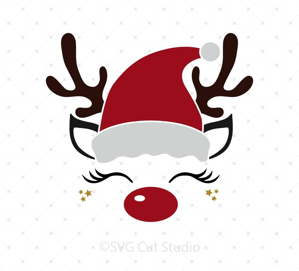 Download Reindeer Face with Santa hat svg files | Christmas vinyl ...