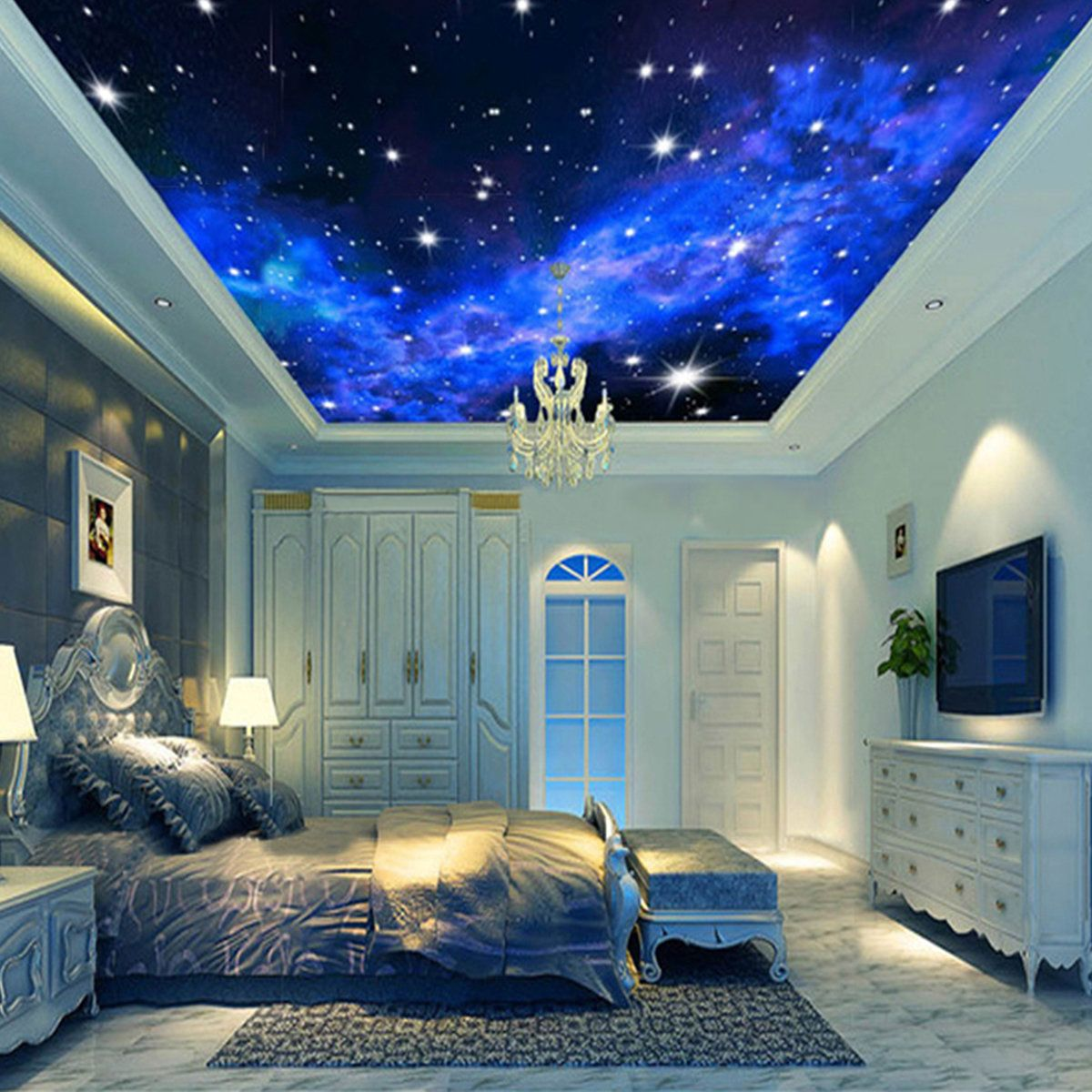 3d wallpaper mural night clouds star sky wall paper for Ceiling mural wallpaper