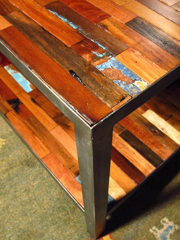 Close Up Picture Of A Reclaimed Boat Wood Coffee Table Square From Impact Imports Boise Philadelphia Mesa De Fierro Mesas Madera