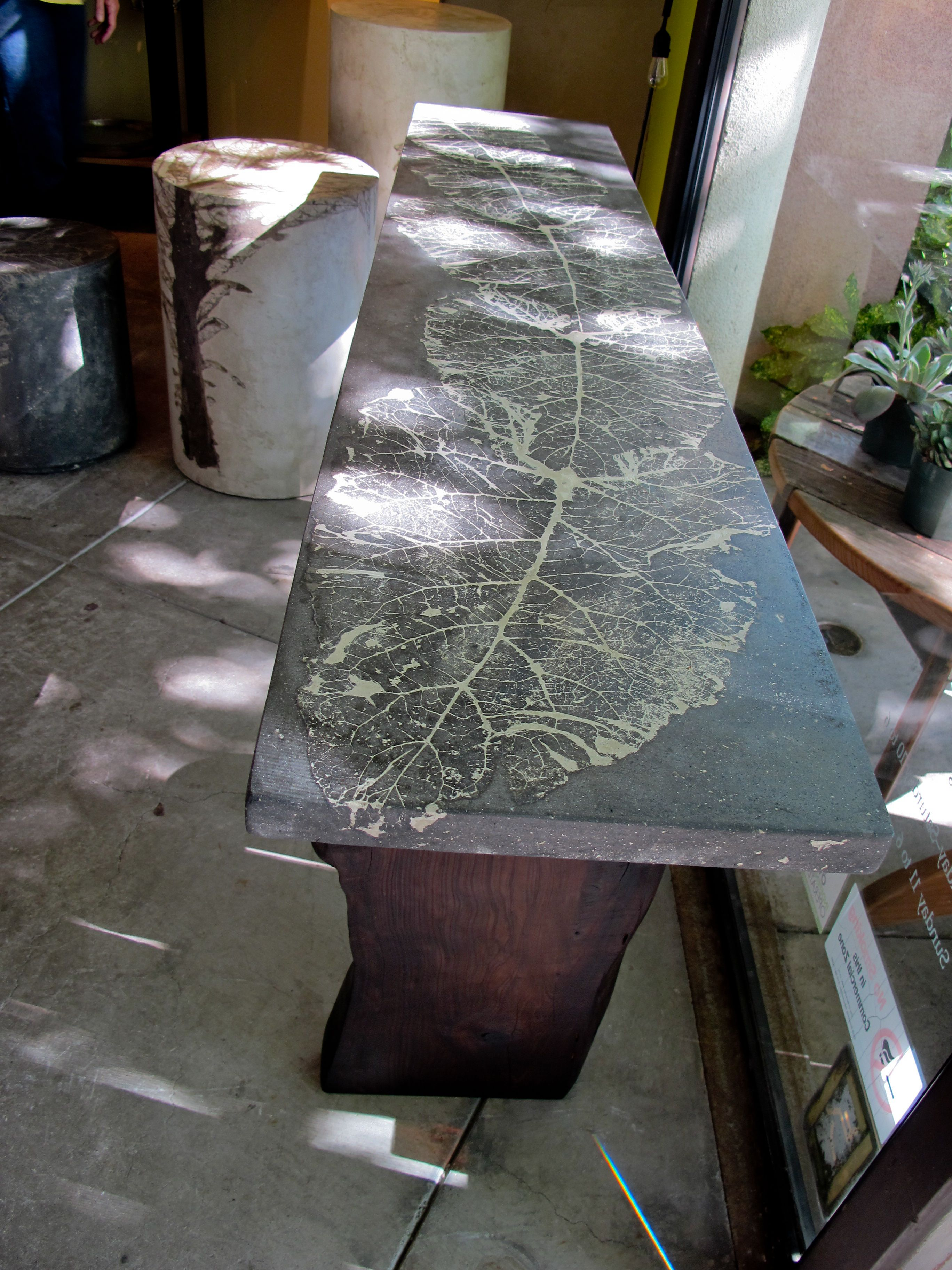 Exceptional Concrete Console With Burnt And Waxed Cypress Base 15x72x32  Www.holmeswilson.com Tall Pliny