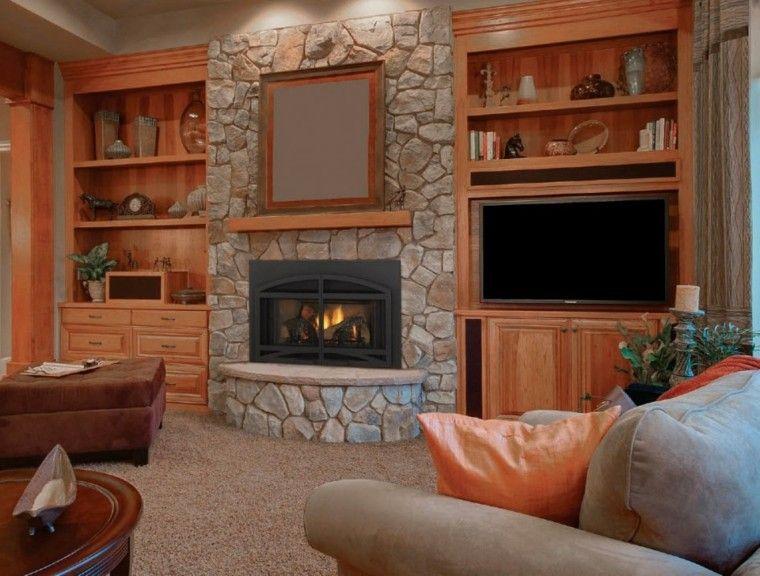 Piedra y madera para los revestimientos de paredes ideas - Chimeneas interiores ...