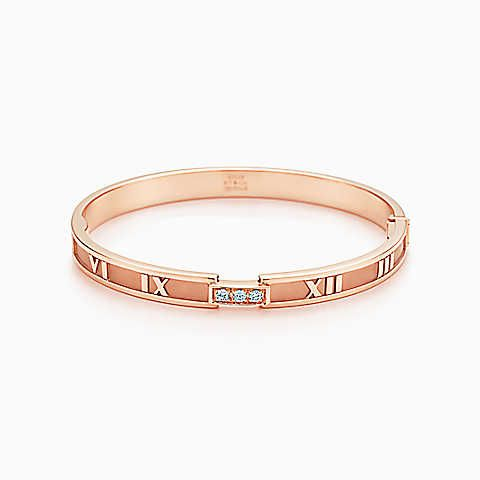 Atlas pierced bracelet in 18k rose gold with diamonds, medium Tiffany & Co.