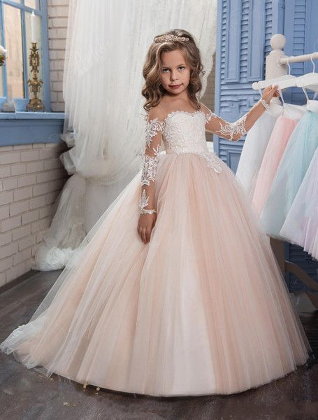 3db2c79cd5df 2019 Real Image Blush Pink Flower Girls Dresses Long Sleeves For ...