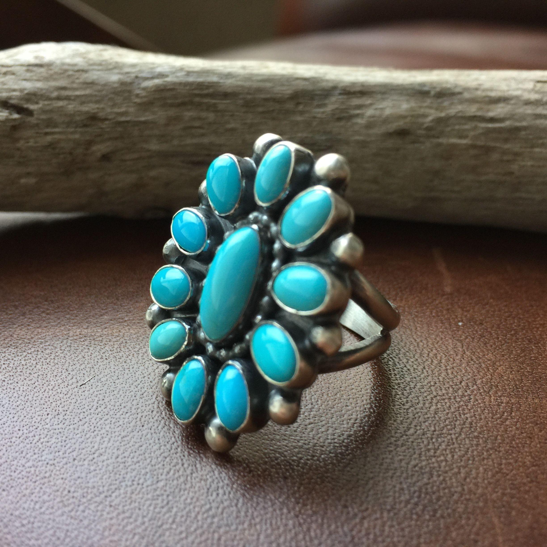 Handmade Robins Egg Blue Campitos Cluster Flower Ring Signed Ernest Begay Size 7
