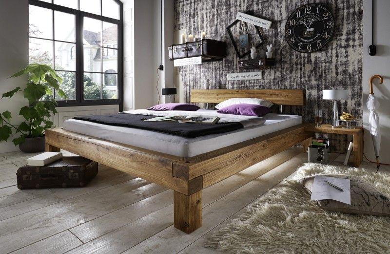 SAM® Balkenbett Ludo Massiv Holzbett Wildeiche 200 x 220 cm