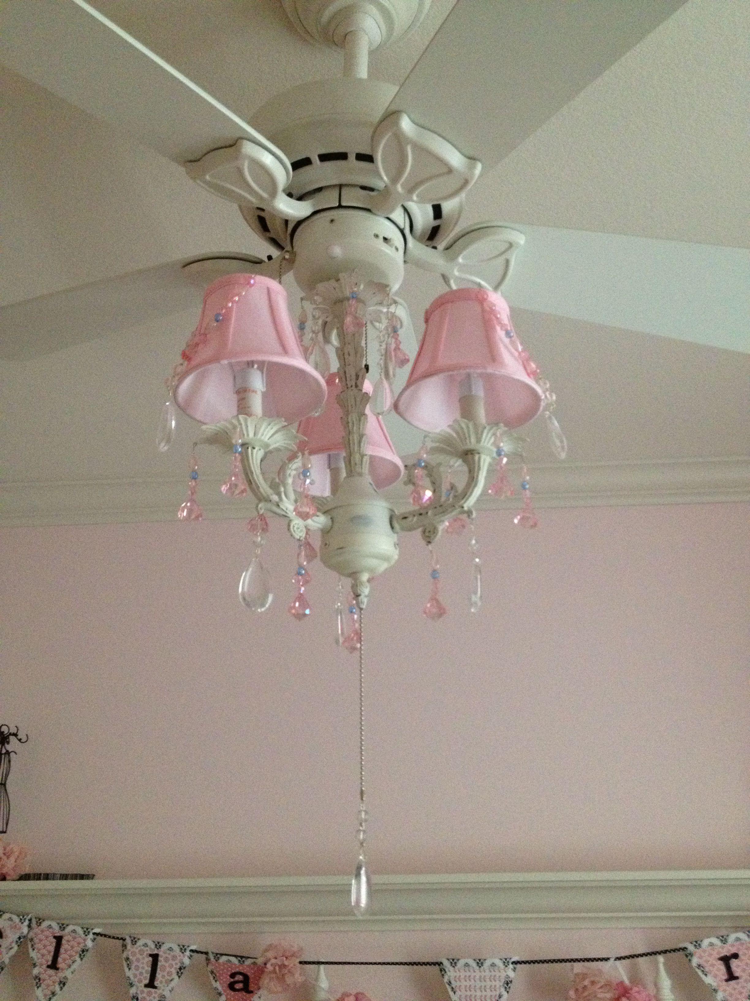 Pink Chandelier On The Fan Ella S Stuff Girls Ceiling