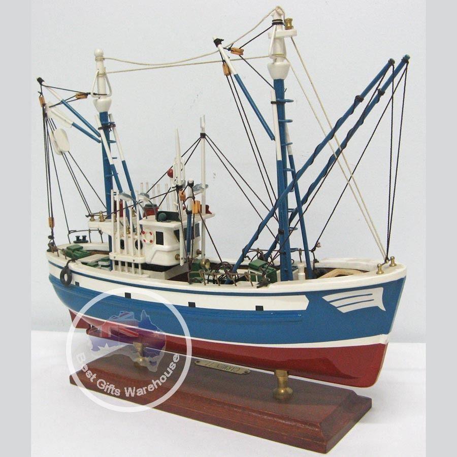 Wooden model ship trawler work fishing boat 35cm ebay for Ebay fishing boats