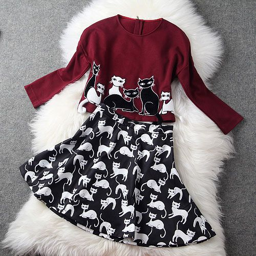 2014 Fashion autumn and winter women cat embroidered long-sleeve print top and skirt set € 47,86