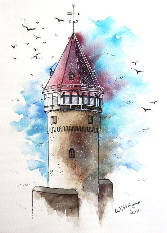 Old Turret Urban Architecture Sketch Original Watercolour