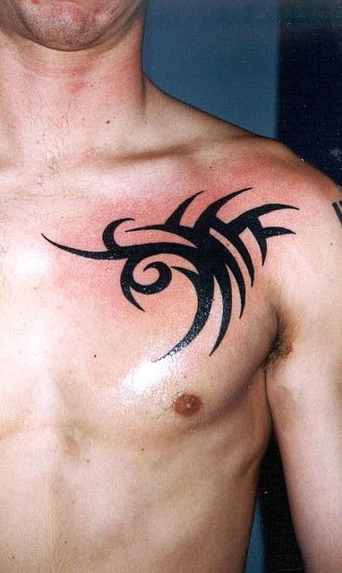 3387fbf572ef6 tribal chest by stigmata1967, via Flickr Tribal Chest Tattoos, Small Chest  Tattoos, Tribal