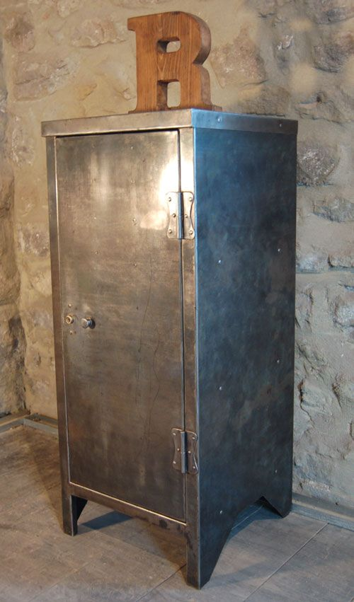 Vintage Industrial Burnished Metal Storage Cabinet Metal Storage