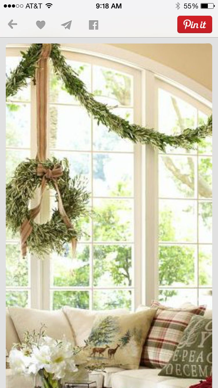 Window decor with wreath  christmas decoration bedroom window idea  christmas with family