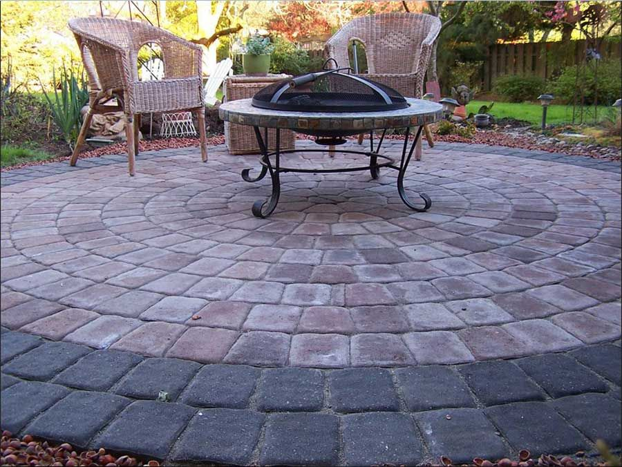 Brick Paver Calculator With Stone In Circle Pattern With Terrace Chairs And  Round Coffee Table And