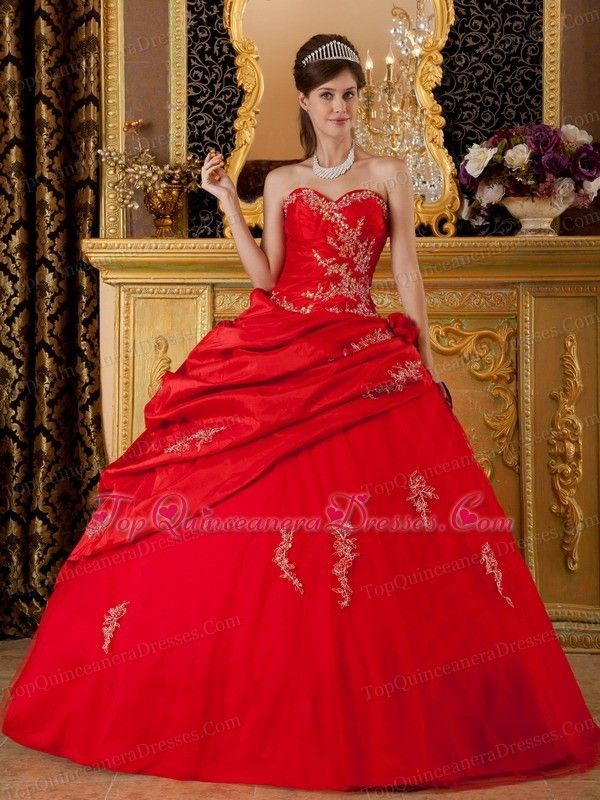 Sweetheart Ball Gown Quinceanera Dress Wine Red Applique - $196.57 ...