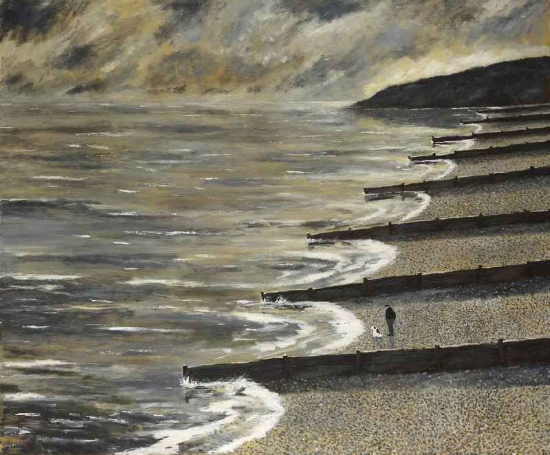 Gary Bunt | Early One Morning: An old man and his dog Were down on the beach Warmed by the morning glow The clouds rolled by In a waking sky And the sea went to and fro
