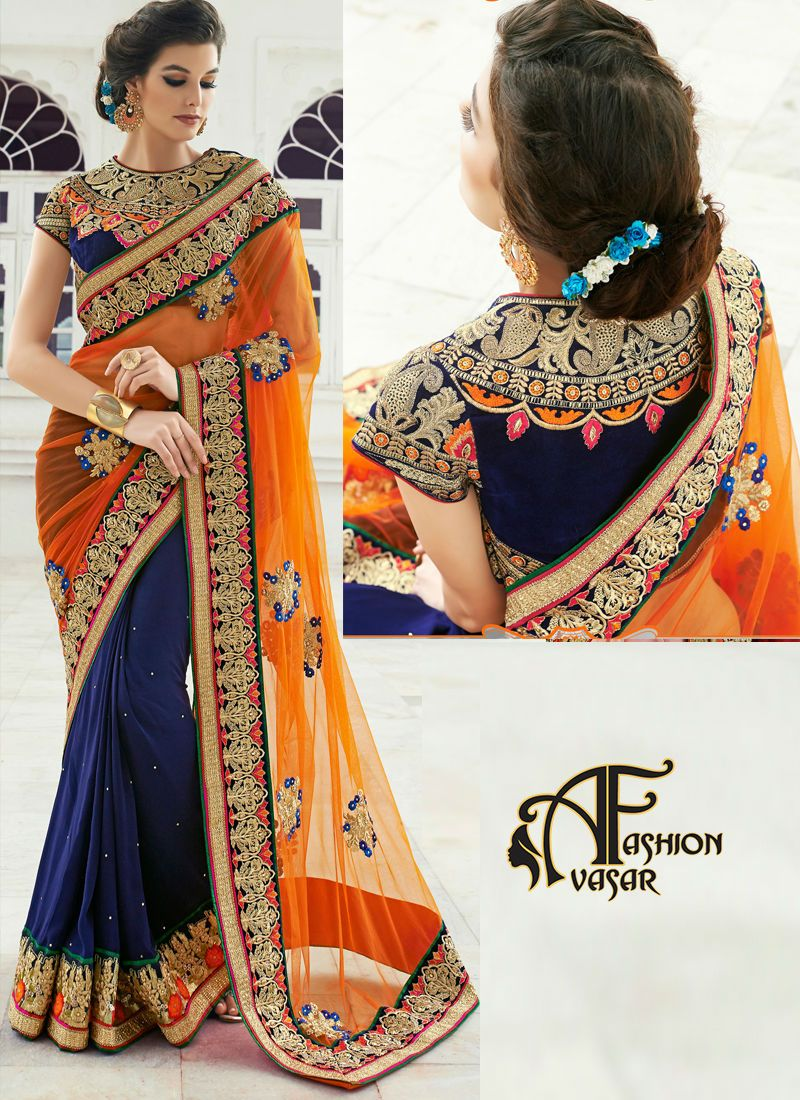 247a82365f56e Orange   Blue Color Net   Georgette Fabric Saree comes with Blue color  Velvet Fabric Blouse. This Beautiful saree is Copper   Blue color floral  embroidery ...
