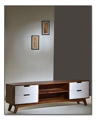 retro lowboard sheesham massivholz tv schrank fernsehteil hifi schrank ebay wohnzimmer. Black Bedroom Furniture Sets. Home Design Ideas