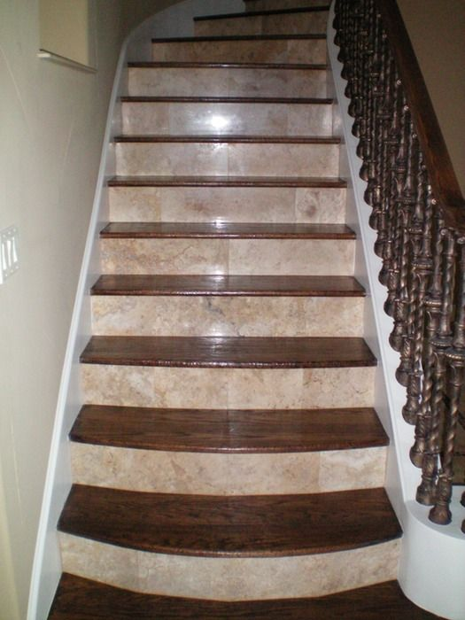 Stair Case Natural Stone Risers Shelton Tile Stair Remodel   Wood And Tile Stairs   Rocell Living Room   Tile Floor   Basement   Quarter Round Stair Hardwood   White