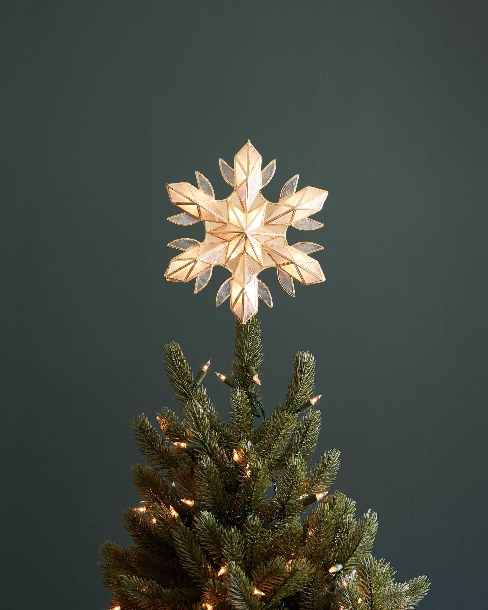 Capiz Snowflake Lighted Christmas Tree Topper Balsam Hill Christmas Tree Toppers Lighted Lighted Tree Topper Snowflake Lights