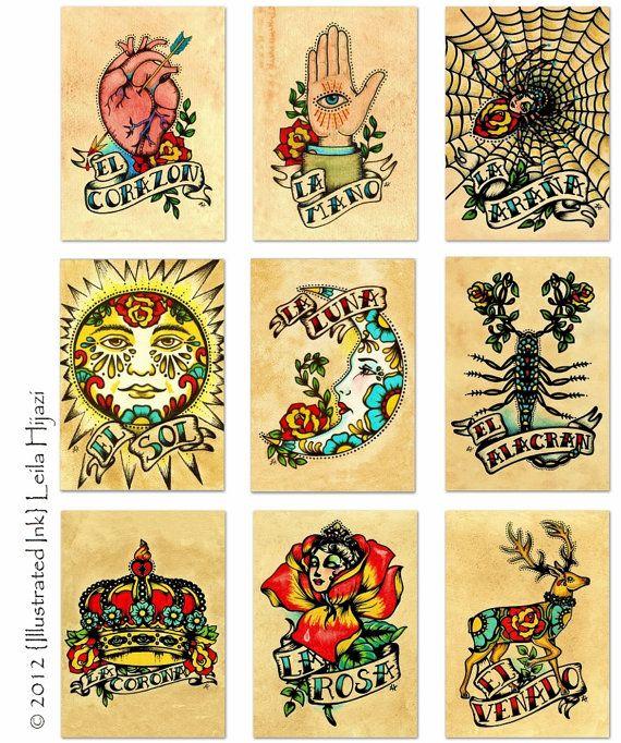 Mexican Folk Art Deer EL VENADO Loteria Print 5 X 7, 8 X