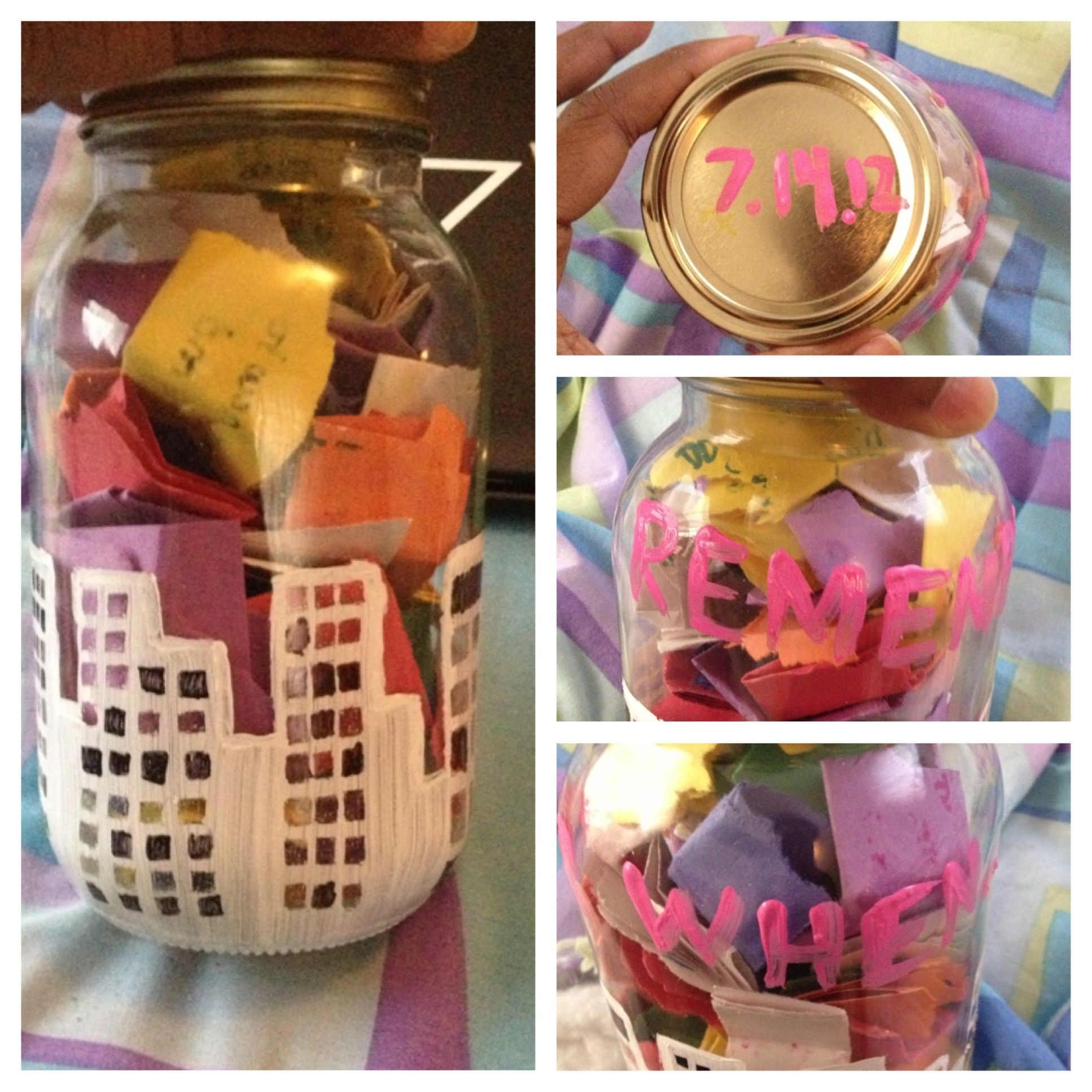 A Remember When Jar That I Made For My Boyfriend For Our 6th Month Anniversary Every Day I Would Write A Boyfriend Gifts 6 Month Anniversary Super Gifts