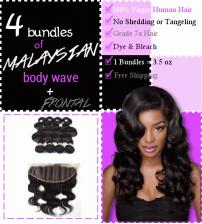 Malaysian Body Wave 4 Bundles + Frontal