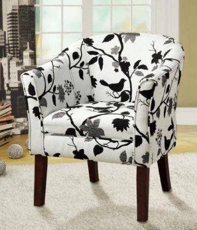 Amazon Com Black And White Bird Fabric Accent Chair Coaster