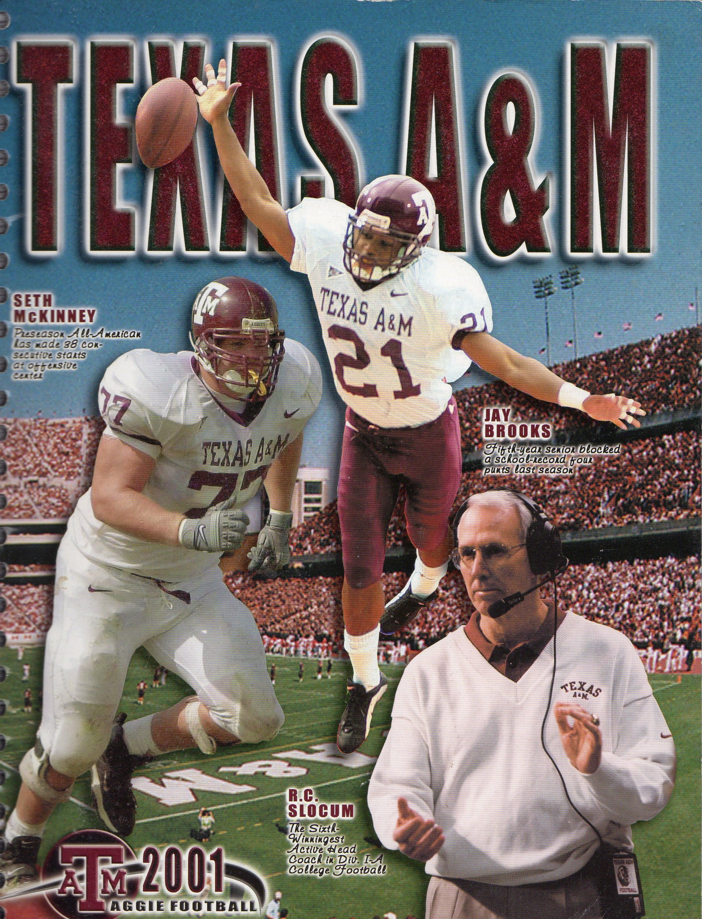 2001 Texas A M Aggies Football Media Guide Aggie Football Texas Aggies Aggies