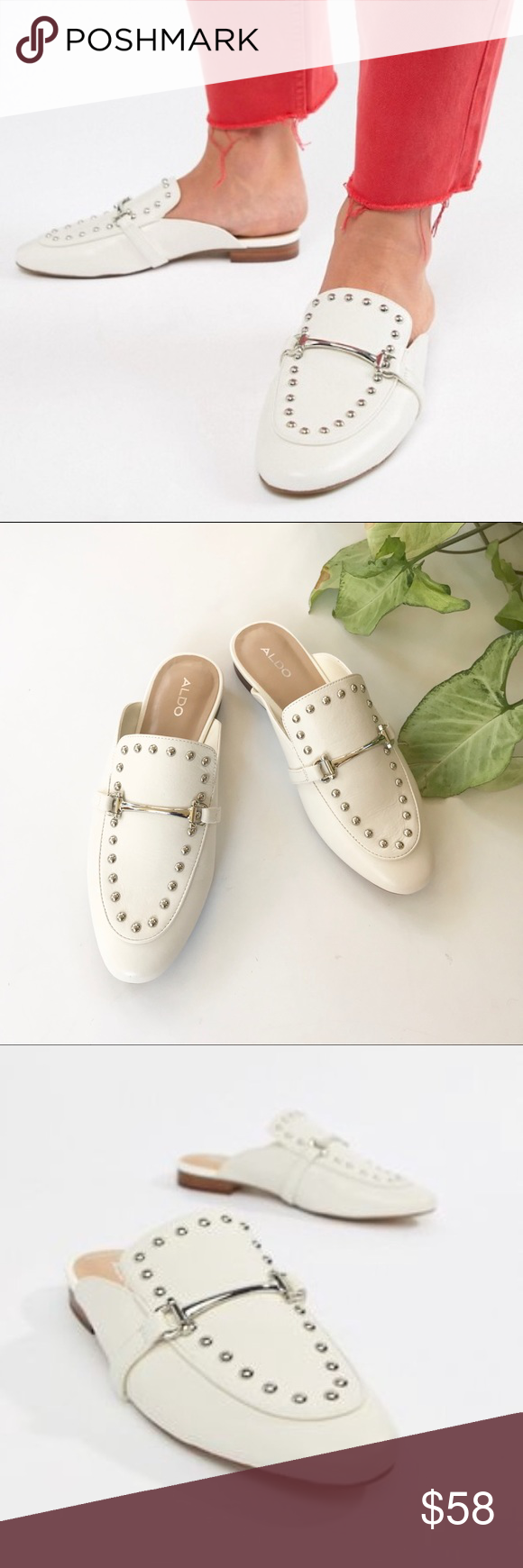 9bb0f46eda NWT Aldo White Studded Metal Bar Loafer Mules 7.5 ALDO Classic all upper  leather loafers with