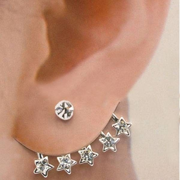 1pc Star Shaped Ear Cuf Crystal Rhinestone Earring ($2.78) ❤ liked on Polyvore featuring jewelry, earrings, crystal rhinestone jewelry, star jewelry, crystal rhinestone earrings, star earrings and earring jewelry