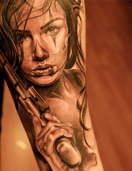 f40ce944c8dc1 Tattoo fashion Girl holding Gun.. | Tats | Clown tattoo, Chicano ...