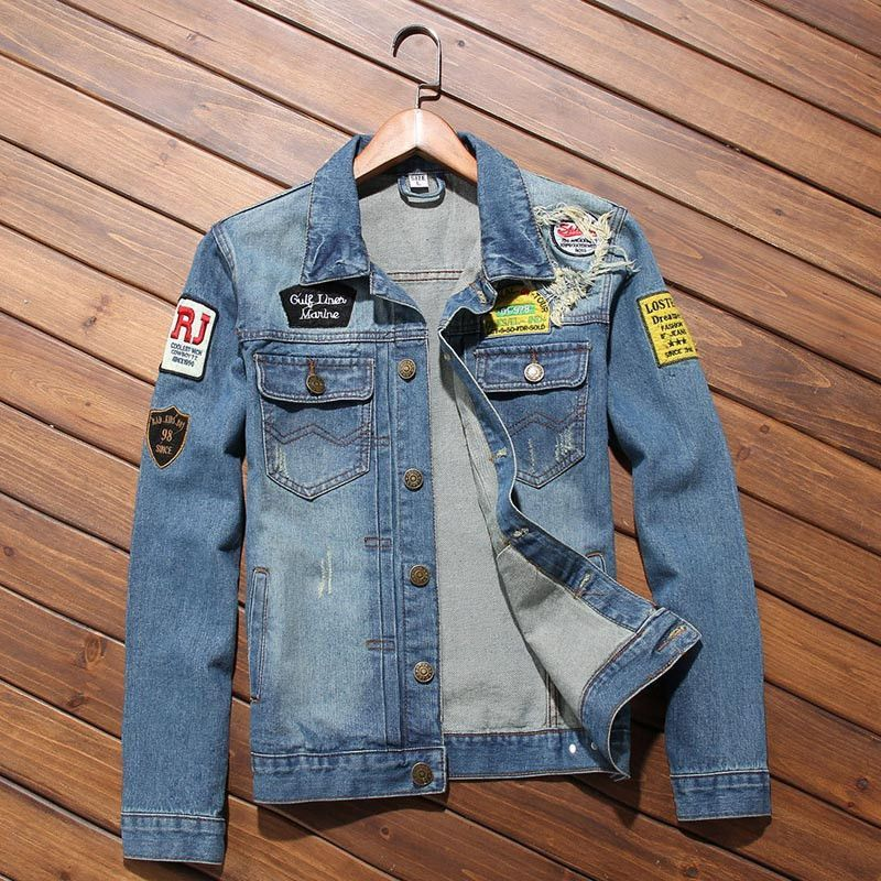 Men Jacket - Hot Sale Men Patch Denim Jacket, Young Casual Denim ...