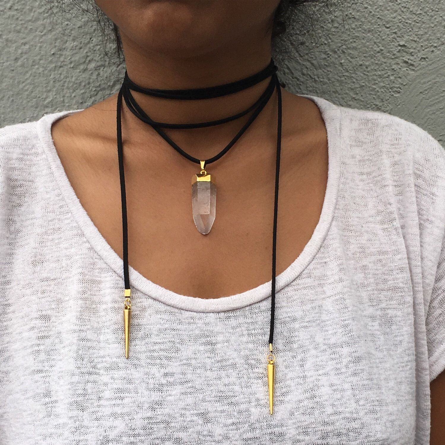 DECEMBER wrap necklace // vegan faux suede // quartz crystal pendant charm by madewithmoonlight on Etsy https://www.etsy.com/listing/398879099/december-wrap-necklace-vegan-faux-suede