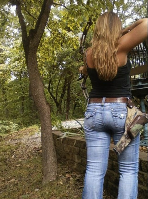Hot chick shooting bow