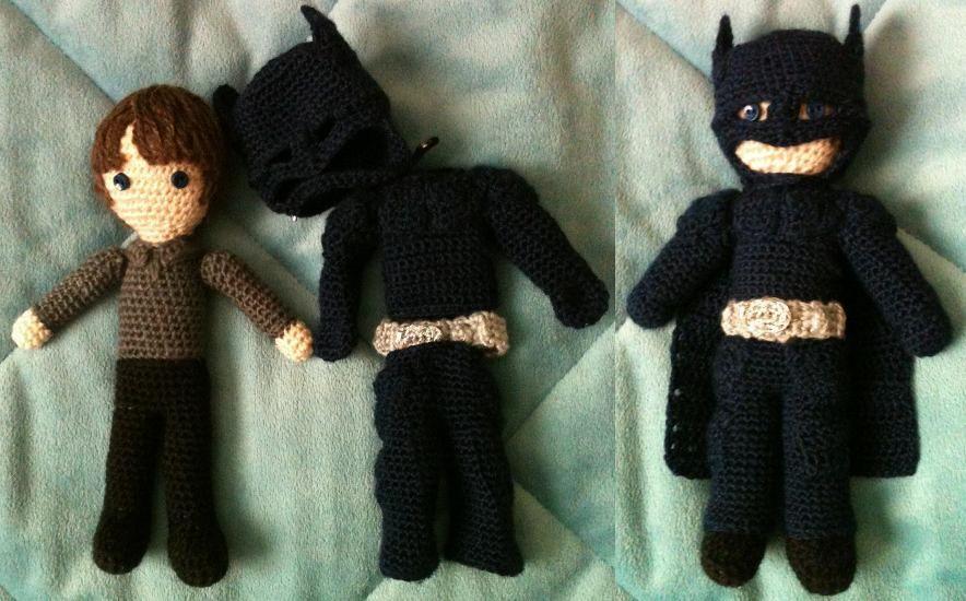 A skinny little Bruce Wayne and a batsuit become amigurumi Batman!