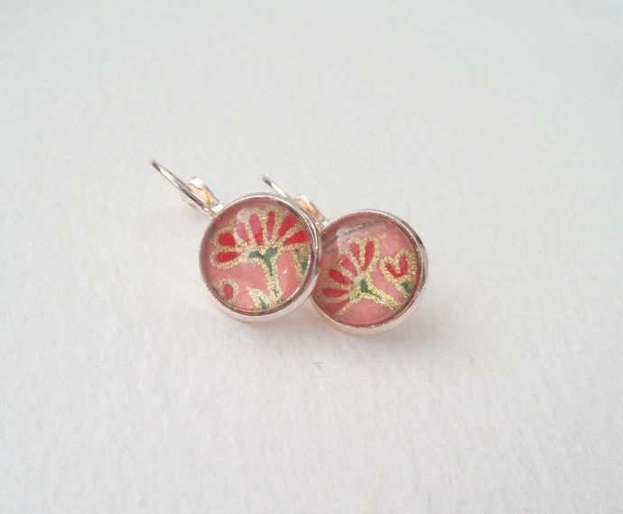 Pink Gold Plated leverback earrings - Japanese Blossom - red, pink and green by NoDittoDesign, $19.50 USD