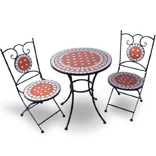 Jago – Ensemble table et 2 chaises de jardin avec mosaïque – en ...