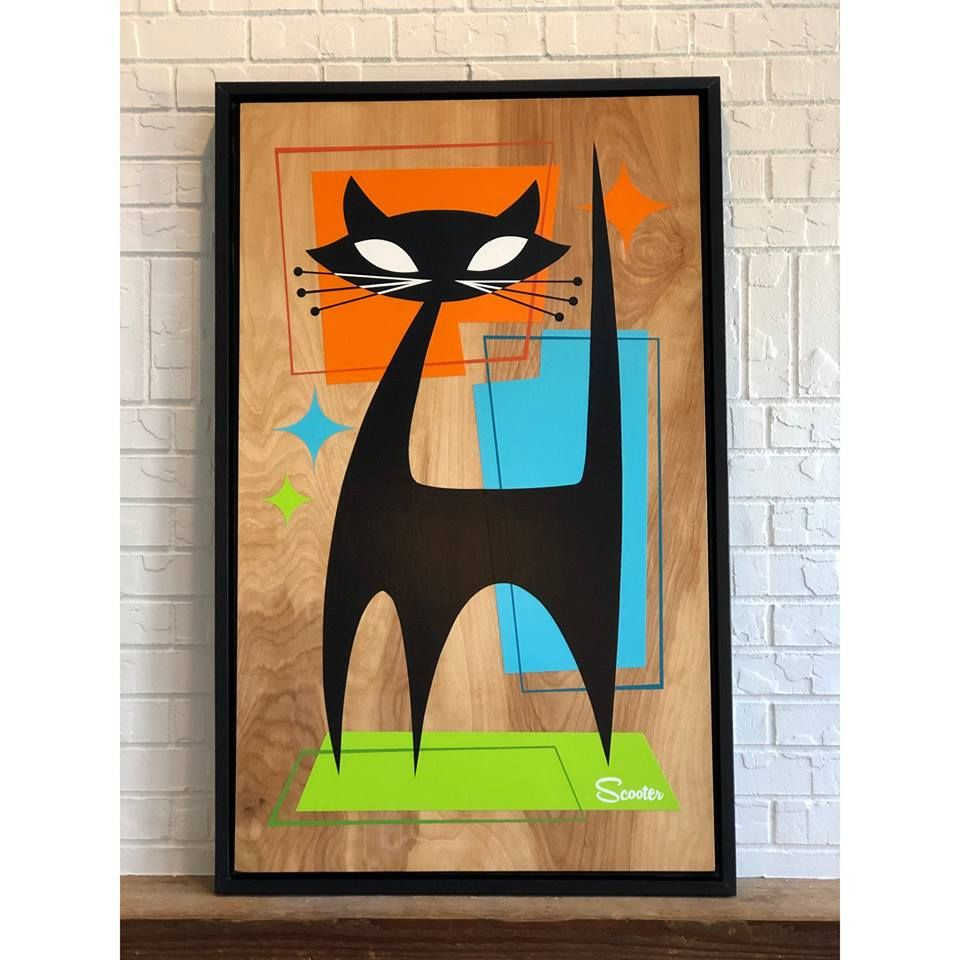 """Mid Century Modern Cat art """"Mister Whiskers"""" by Art of Scooter ..."""