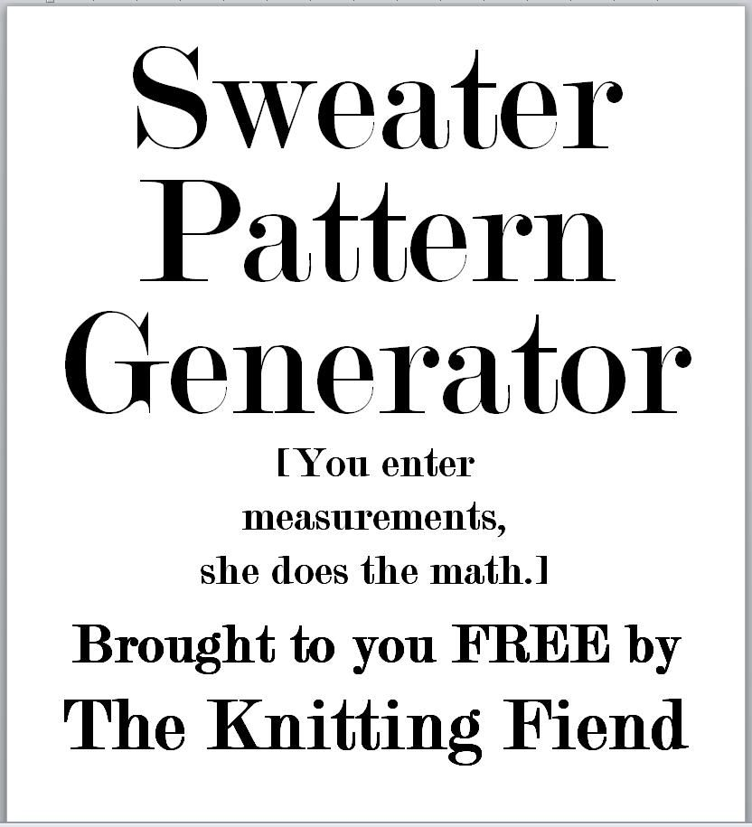 A free, web-based pattern generator from The Knitting Fiend. Just ...
