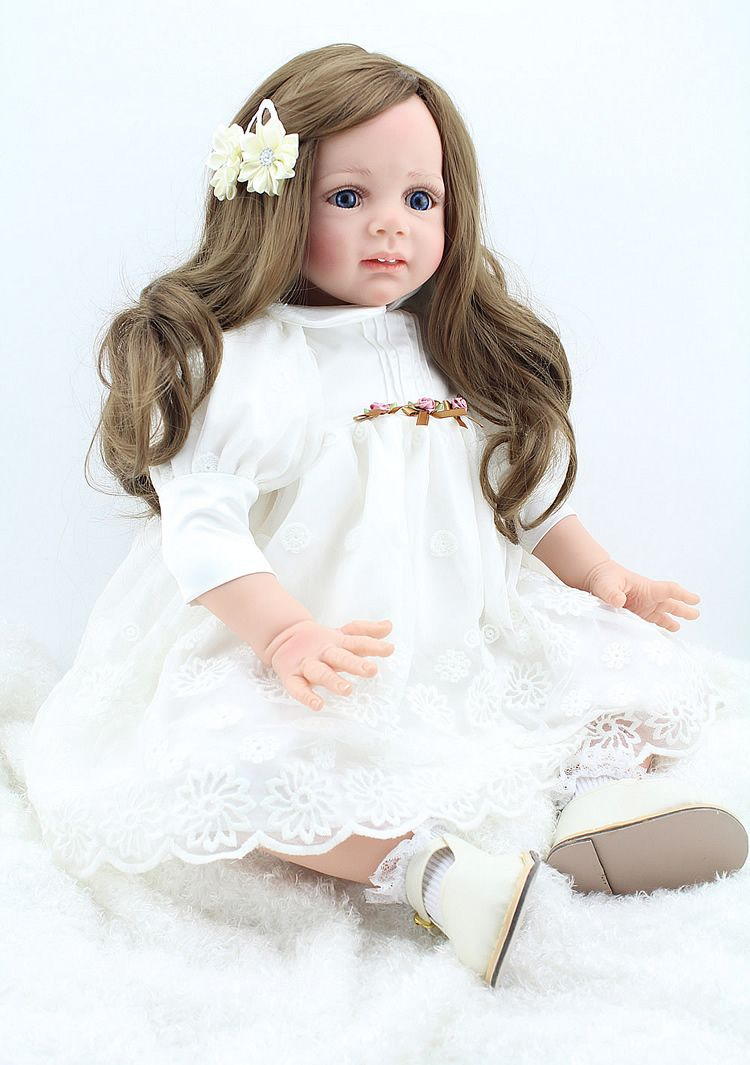 Soft Silicone Doll Reborn Toddlers 24 Inch 60cm Handmade Realistic Lifelike Baby With Long Hair Big Toys B American Girl Baby Doll Reborn Toddler Toddler Dolls